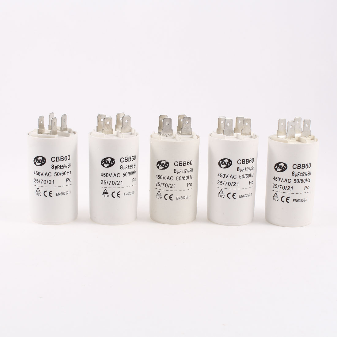 5 Pcs CBB60 8uF 450VAC 5% 4 Pins Motor Run Capacitor for Washing Machine