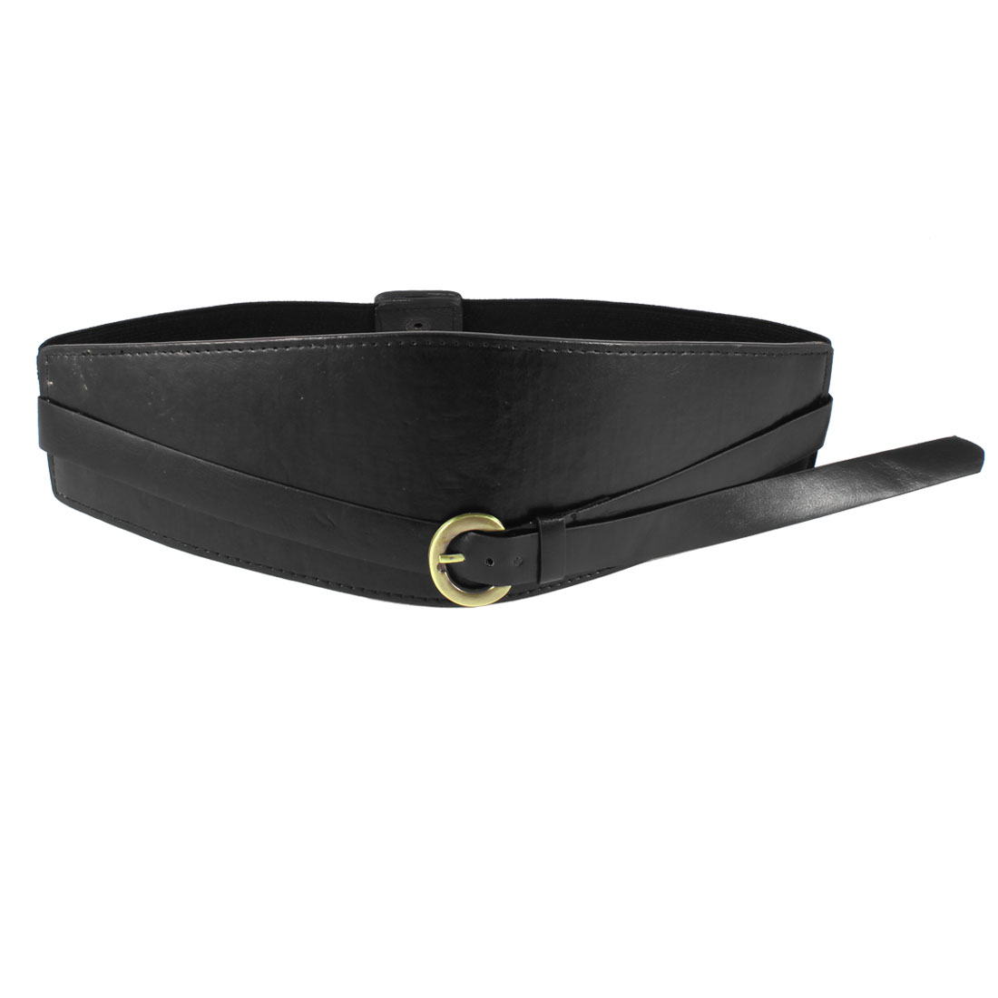 Stretchy Band Press Stud Button Buckle Cinch Belt Black for Ladies