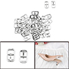 40 Pcs 1.8 x 1.1cm Metal Rectangular Shoes Needle Buckles Silver Tone