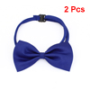 2PCS Adjustable Dog Doggie Puppy Polyester Collar Bowtie Bow Ties Royal Blue