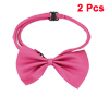 Dog Cat Pet Collar Accessory Bow Tie Polyester Necktie Ornament Fuchsia 2 Pcs