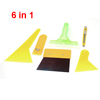 6 in 1 Car Automobile Window Film Bubble Scraper Yellow Handle Wiper Tool Set