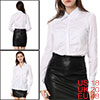 Allegra K Ladies Pure Color Single-Breasted Front White Career Blouse XL
