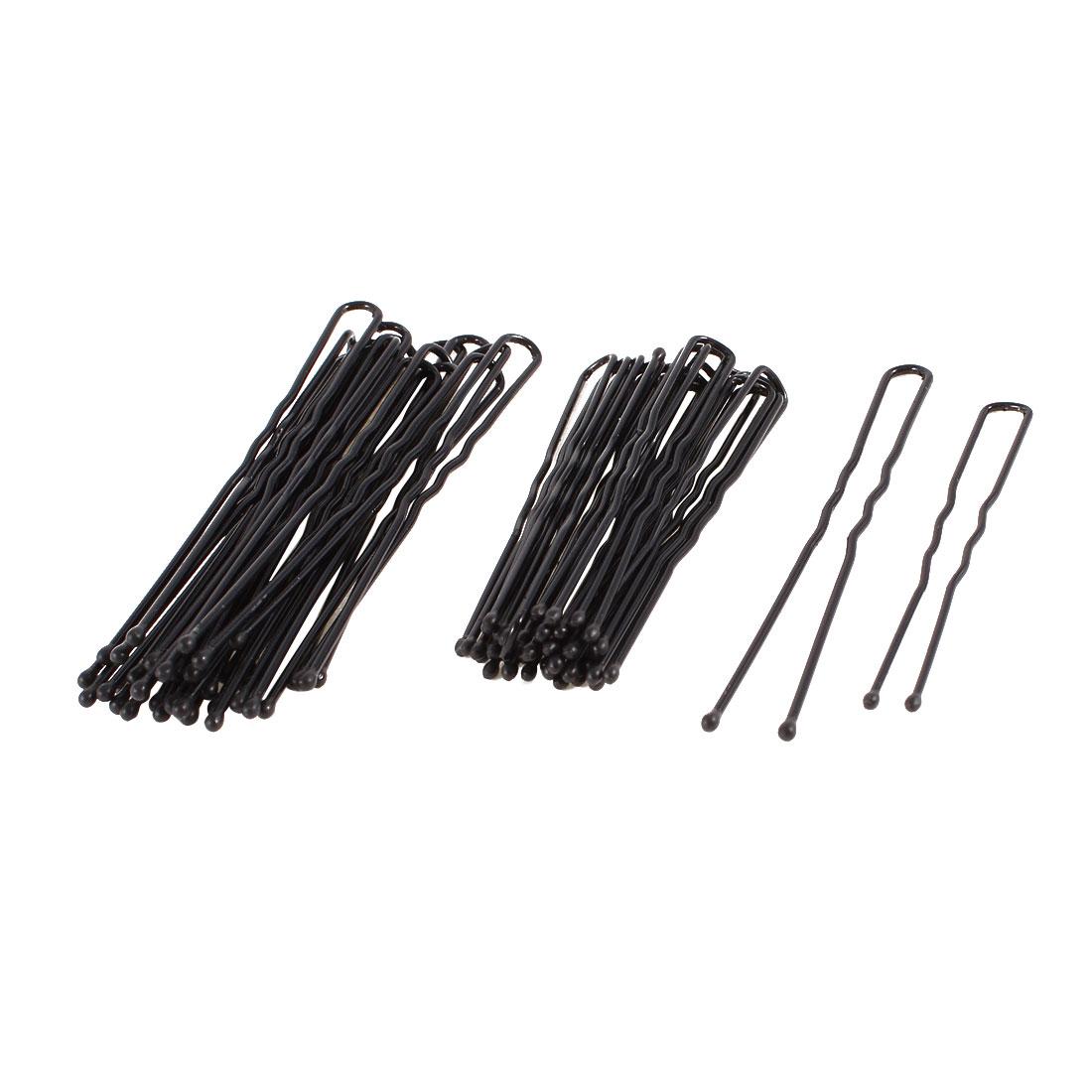Ladies DIY Hairstyle Black Metal Hair Barrette Bar Clips 40 Pcs
