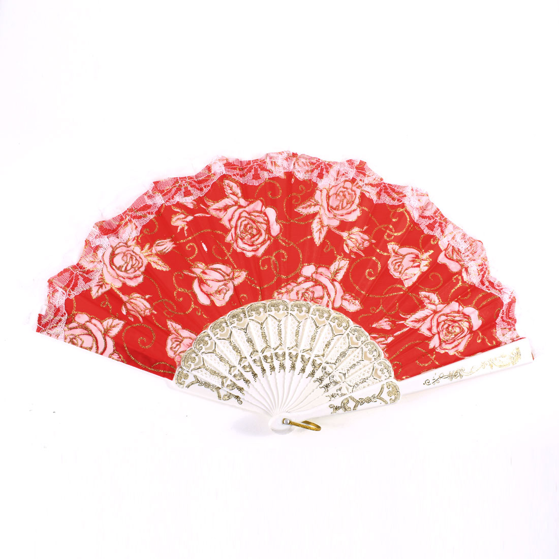 U Ring Gold Tone White Glitter Flower Leaf Vine Print Red Chinese Foldable Fan