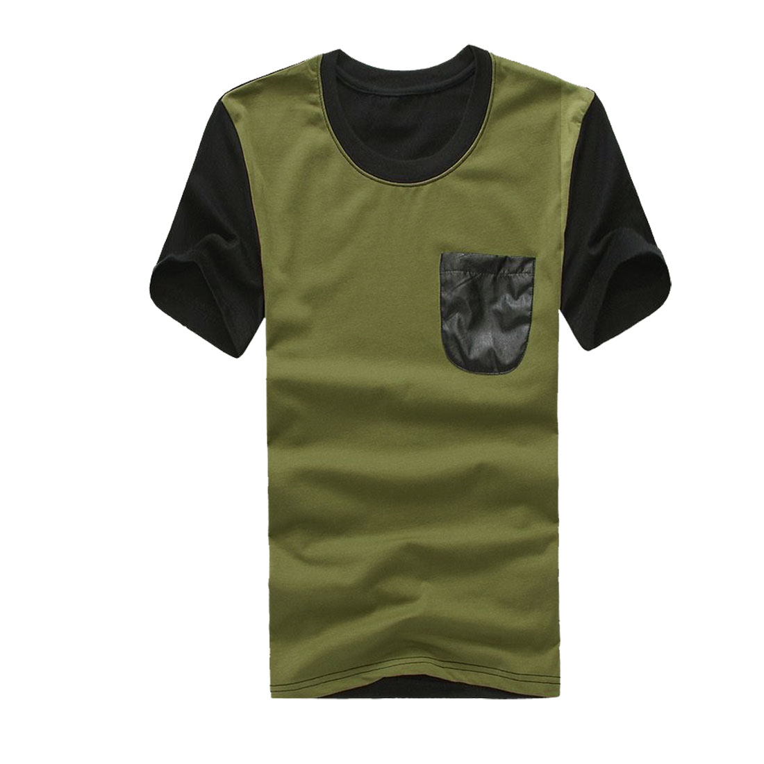 Man Round Neck Short Sleeve Spliced Chest Pocket Shirt Olive Green M