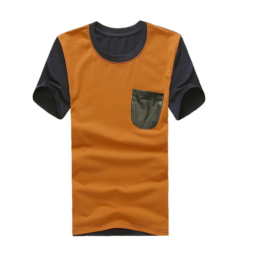Men Breasted Pocket Stretchy Short-sleeved Chic Shirt Mustard M
