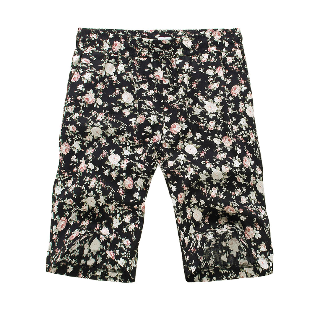 Men Drawstring Waist Floral Prints Decor Multicolor Shorts W27