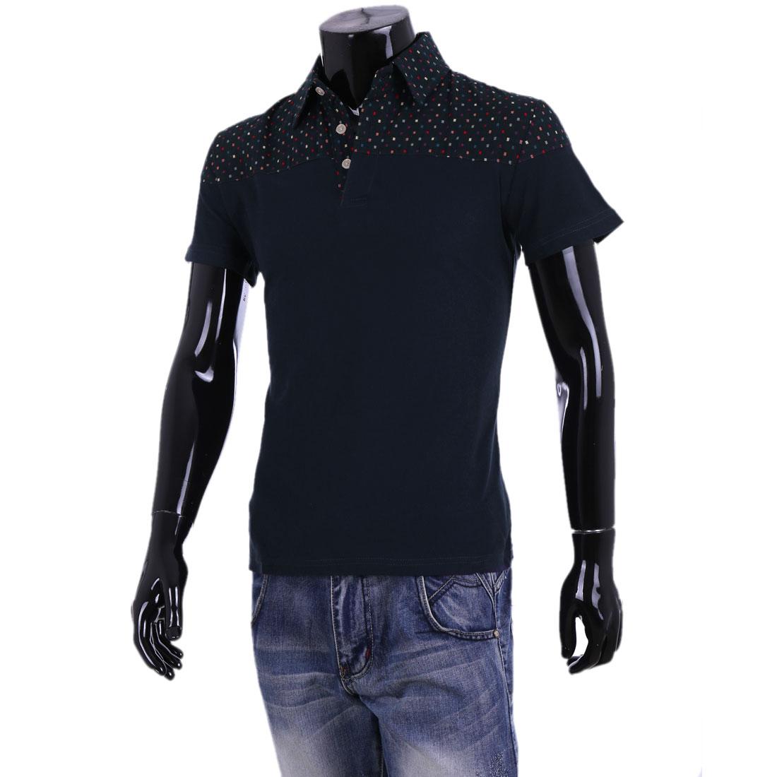 Men Dark Blue Point Collar Patchwork Short Sleeve Polo Shirt M