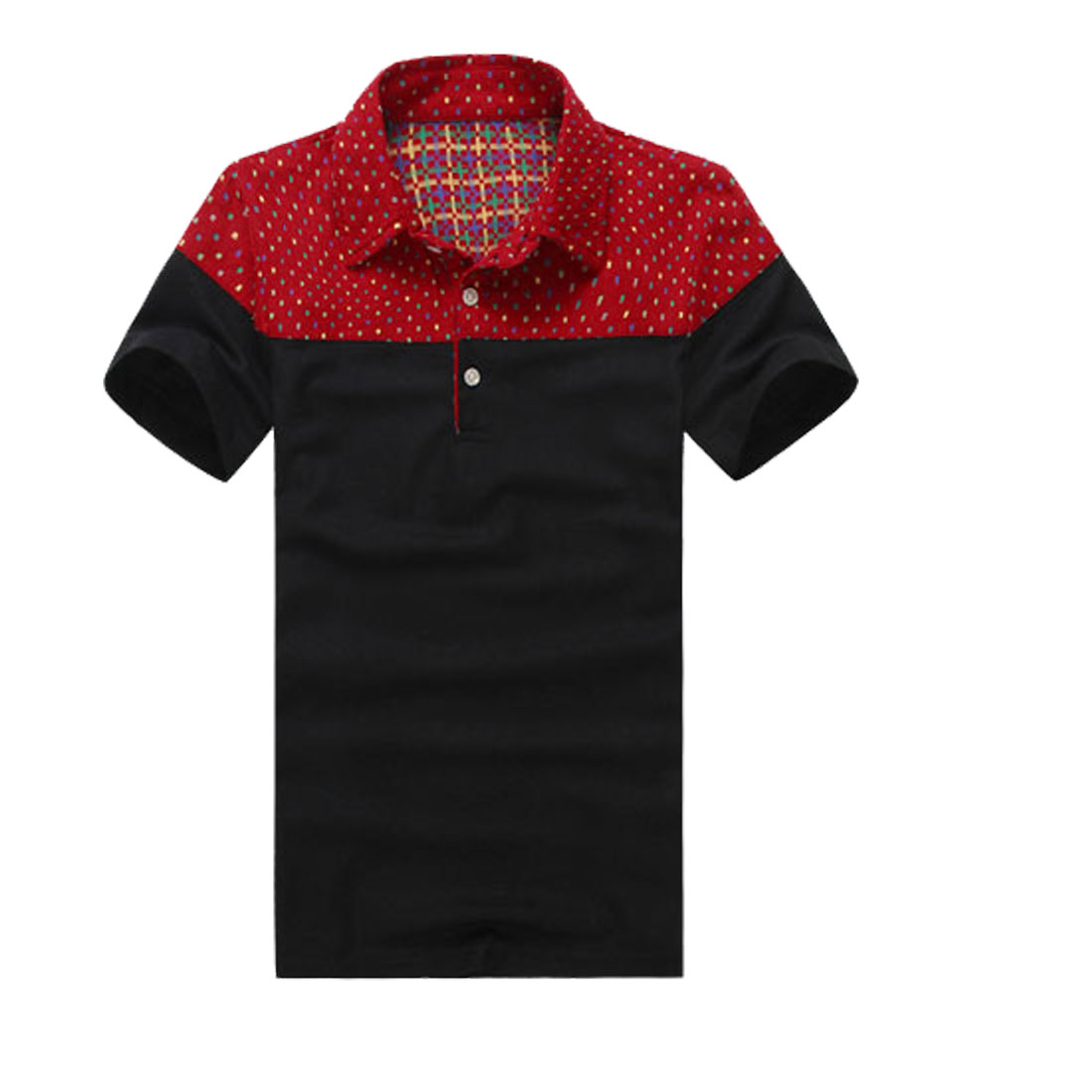 Men Red Black Polo Collar Geometric Pattern Casual Shirt M