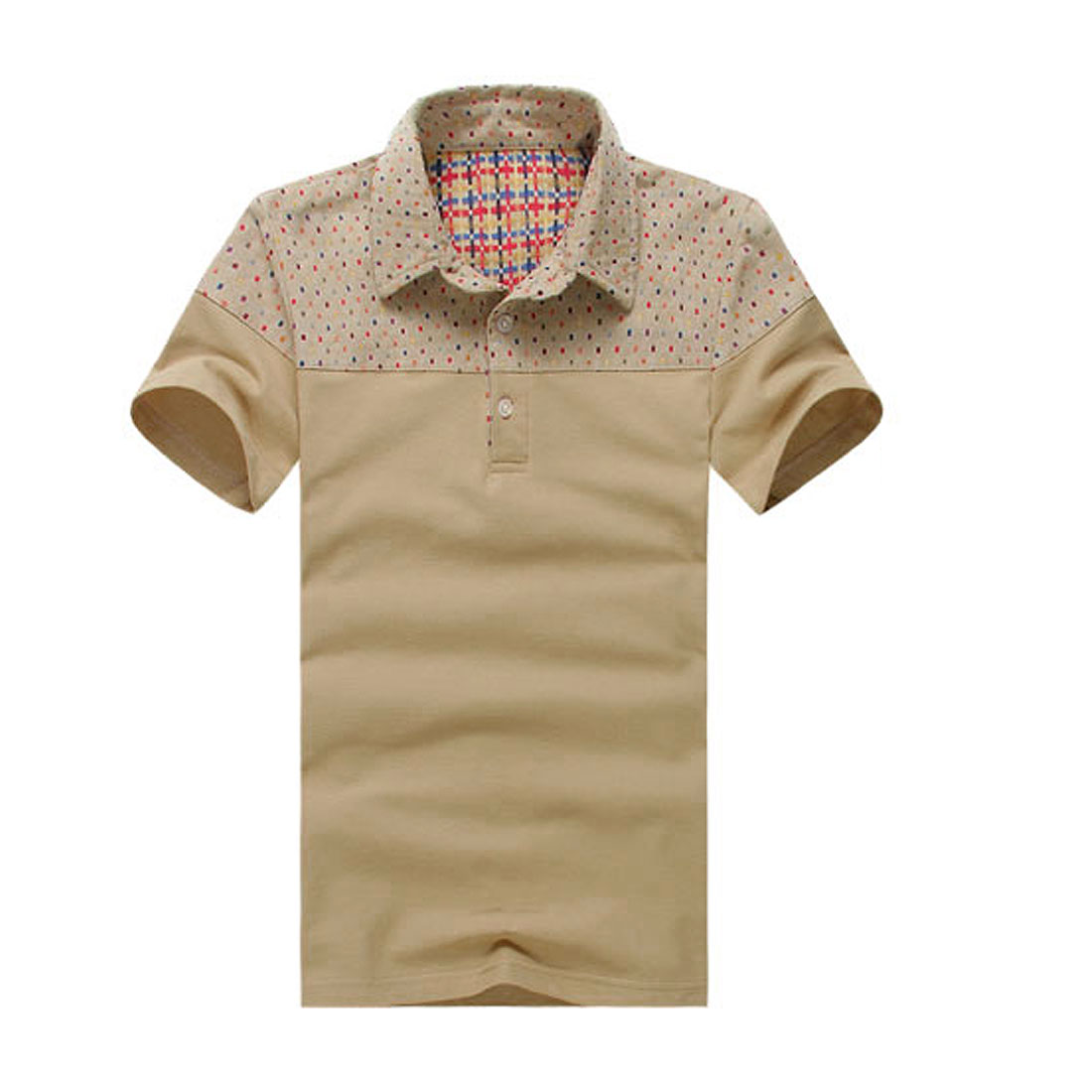 Men Khaki Point Collar Geometric Pattern Short Sleeve Polo Shirt M