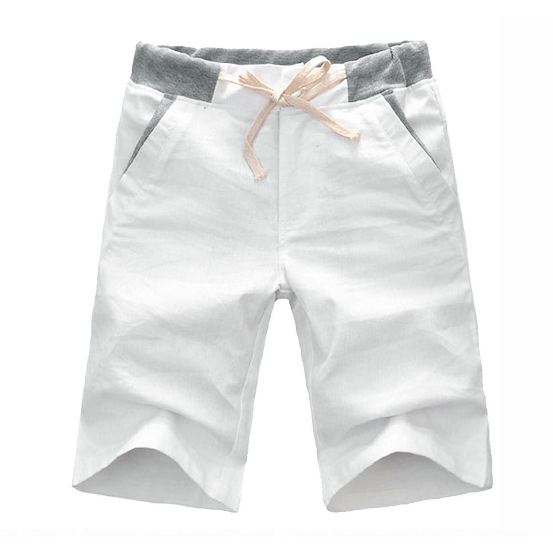 Men Linen Buttons Drawstring Casual Short Trousers White W31