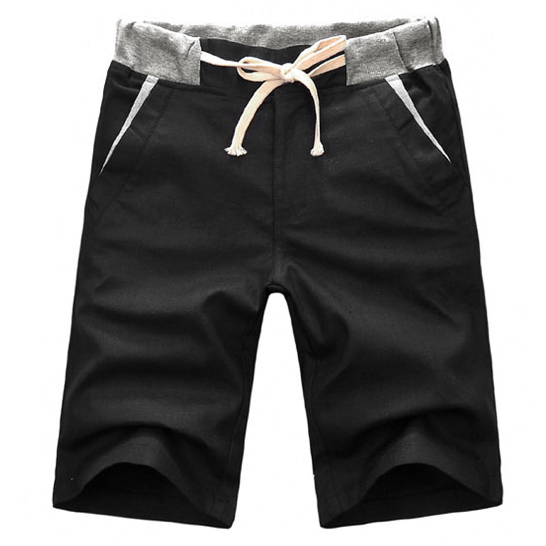 Men Zipper Fly Buttoned Closure Stretchy Waist Shorts Black W31