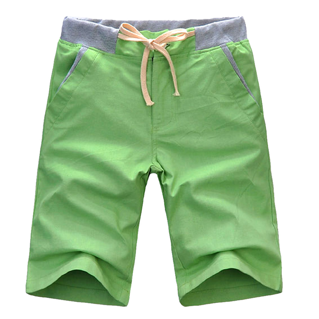 Man Hip Pockets Linen Leisure Buttoned Fashion Shorts Light Lime W31
