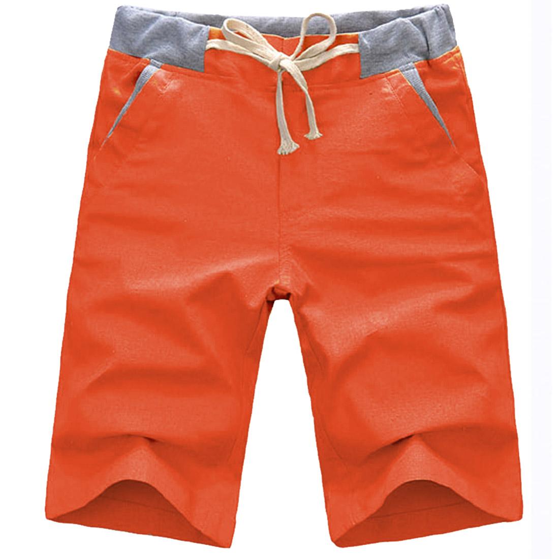 Man Slant Pockets Linen Leisure Buttoned Chic Shorts Orange W31