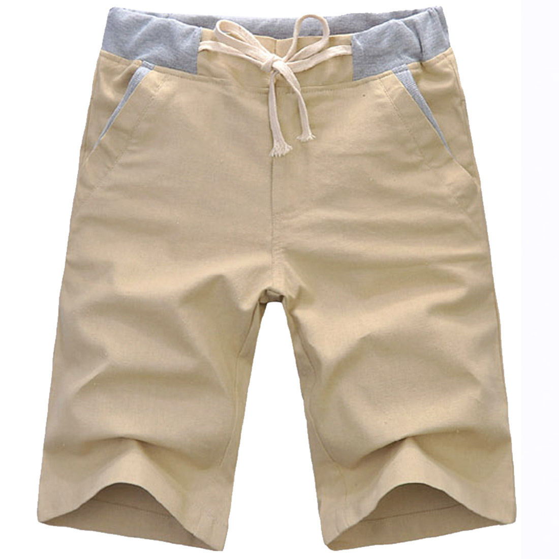 Men Zipper Fly Buttoned Closure Elastic Waist Shorts Khaki W31