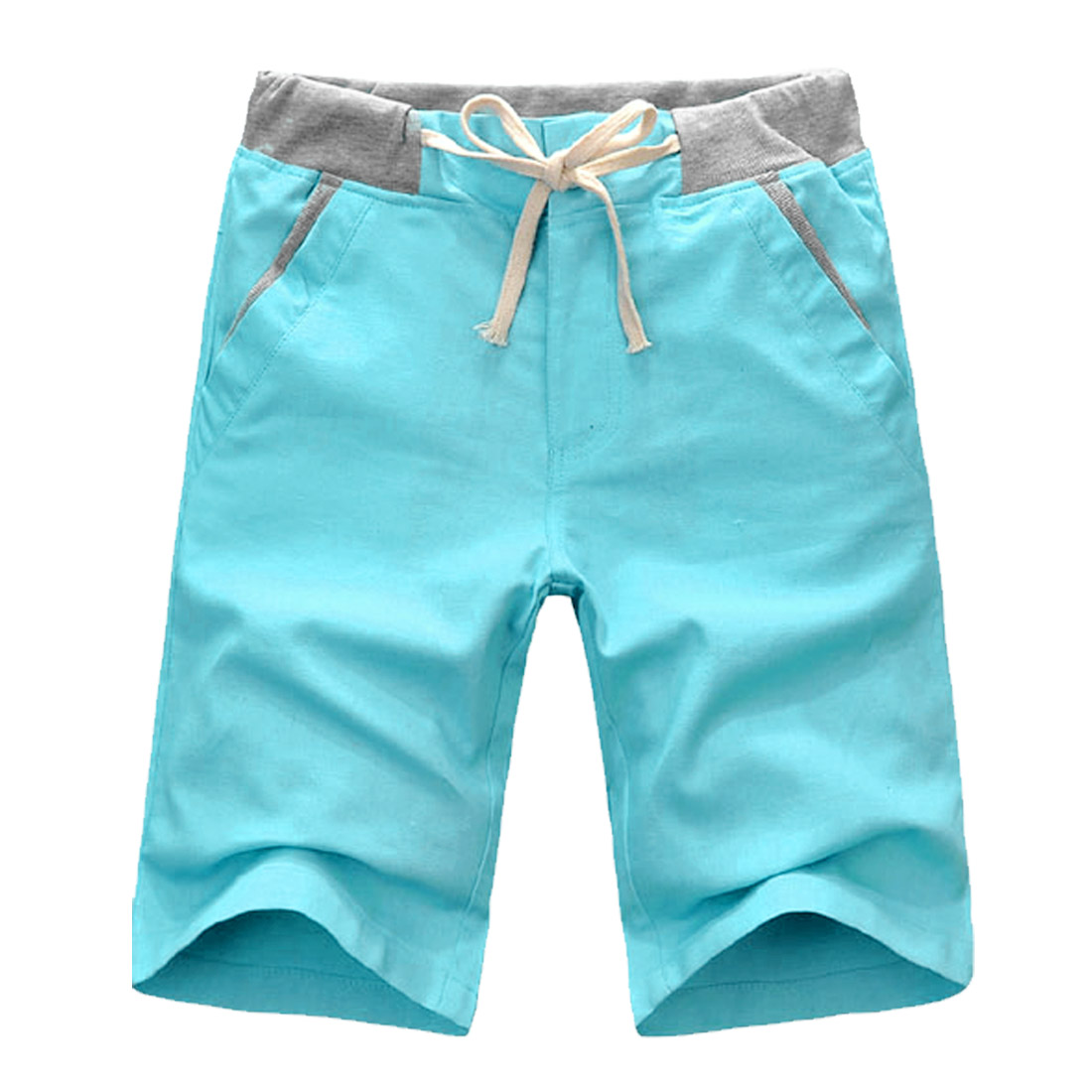 Man Slant Pockets Flax Color Contrast Shorts Pants Cyan W31