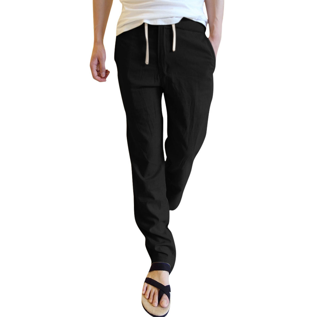 Men Drawstring Waist Slants Pockets Casual Pants Black W29