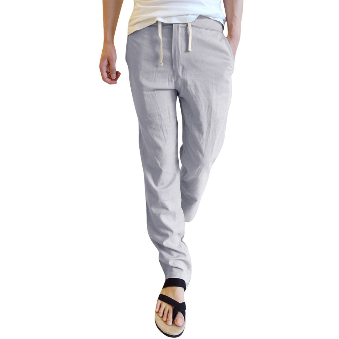 Men Zip Closure Hip Pocket Leisure Pants Light Gray W29