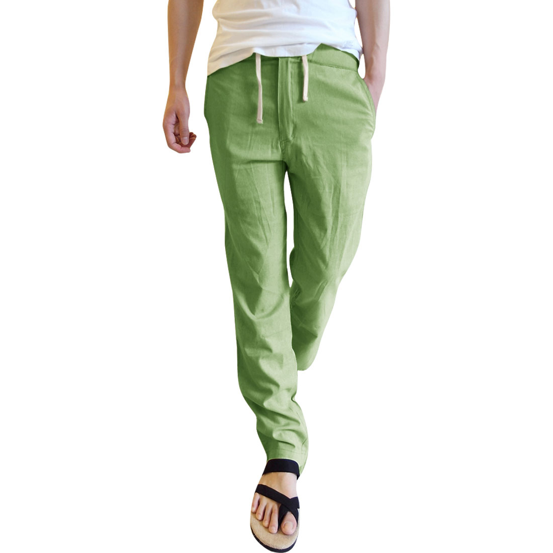 Men Drawstring Waist Hip Pocket Leisure Pants Khaki W29
