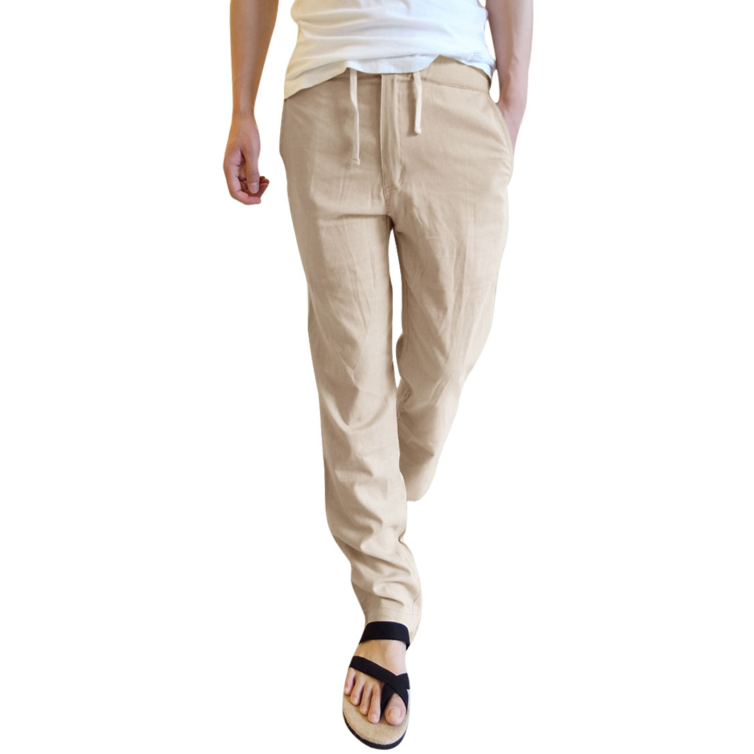 Stylish Men Zip Closure Slants Pockets Pants Beige W29