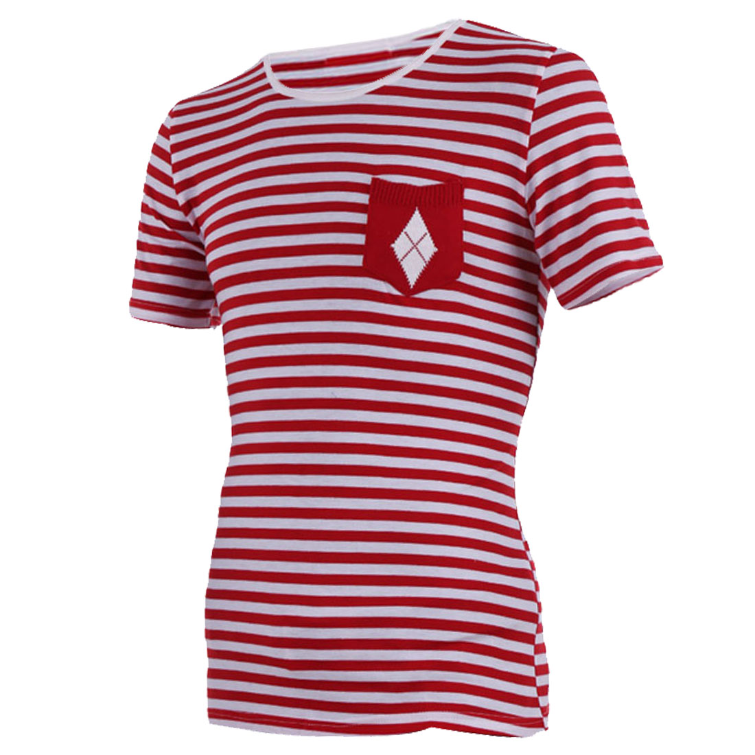 Men Round Neck Short Sleeve Stripes Shirt Red White S