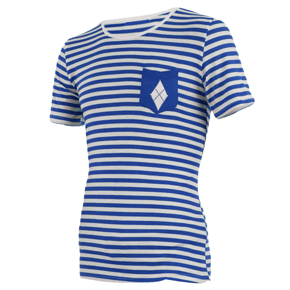 Men Round Neck Pullover Stripes Stylish Shirt Blue White S