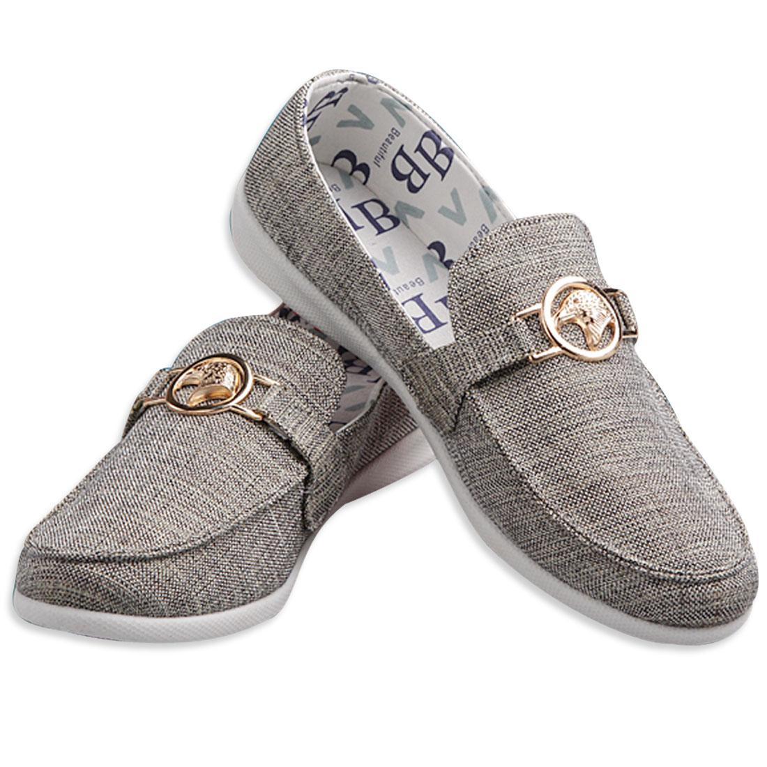 Men Soft Footbed Canvas Shoes w Eagle Logo Decor Gray Silver Tone US Size 11