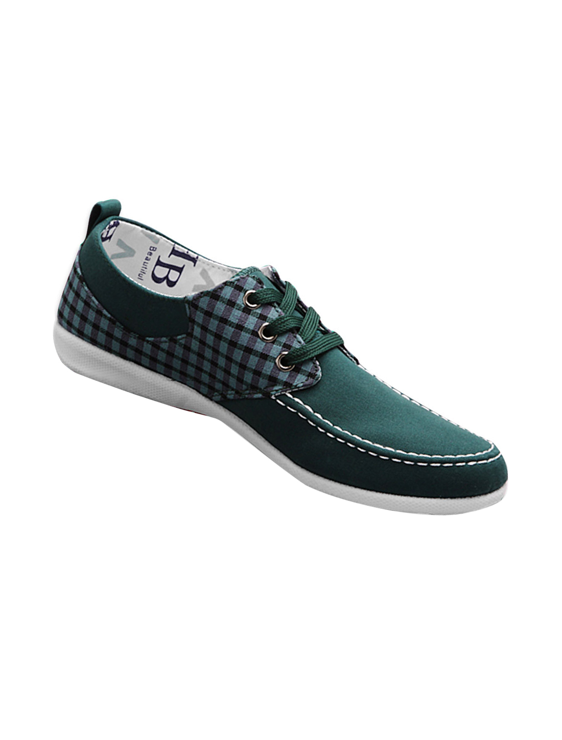 Men Round Toe Plaids Detail Stylish Canvas Shoes Dark Green US Size 10.5