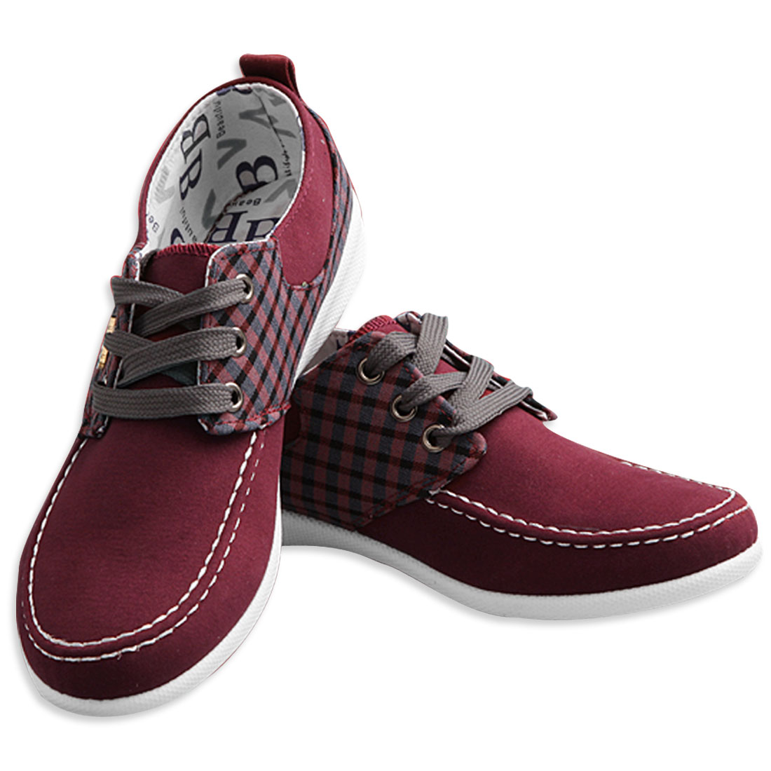 Men Front Lace Closure Letter Decor Canvas Shoes Burgundy US Size 10.5