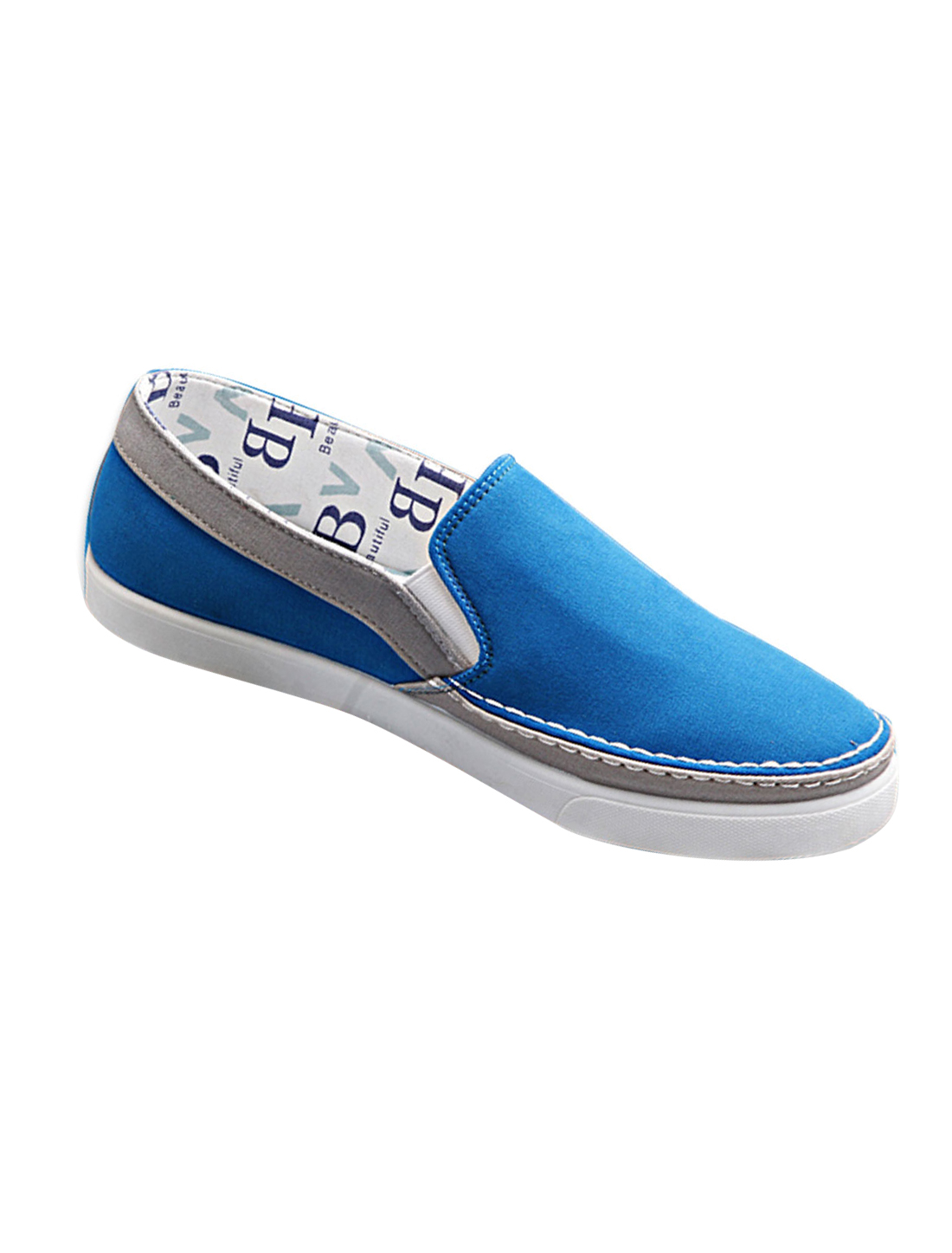 Men Summer Cool Letter Pattern Lining Slip On Shoes US Size 11 Blue
