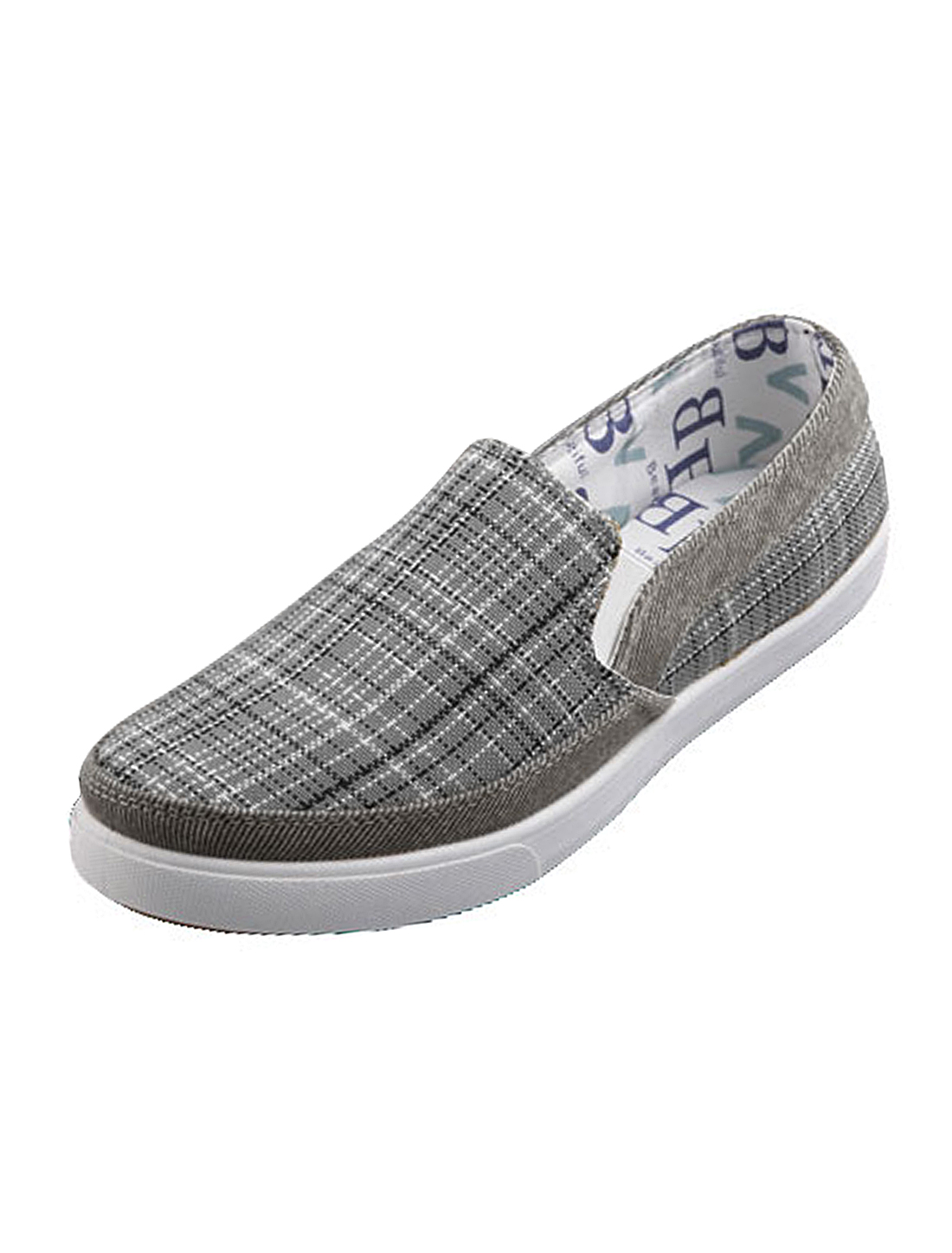 US Size 11 Grey Stylish Plaids Pattern Gentle Footbed Men Loafer Shoes
