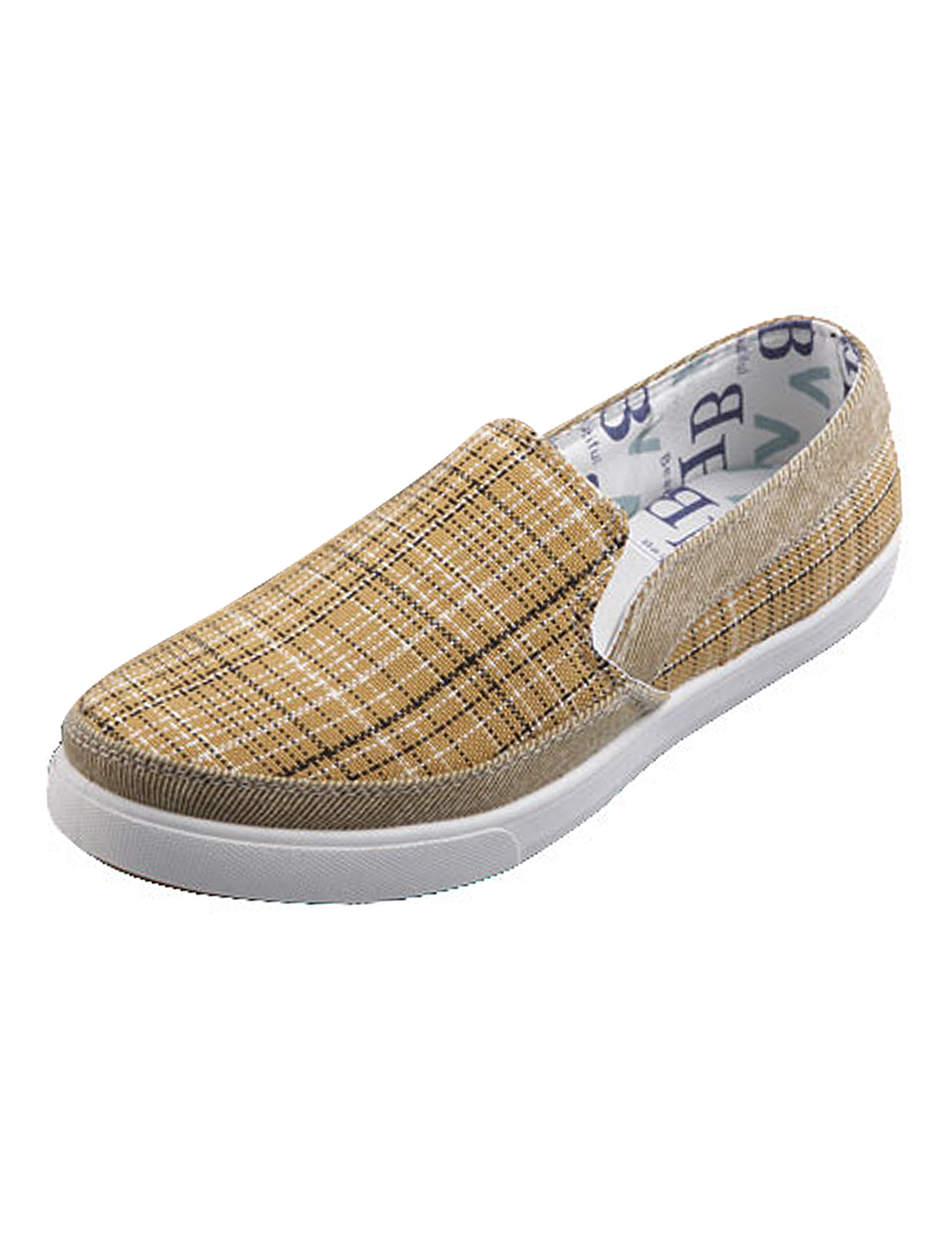 Men Plaids Pattern Canvas Slip On Casual Loafer Brown US Size 11