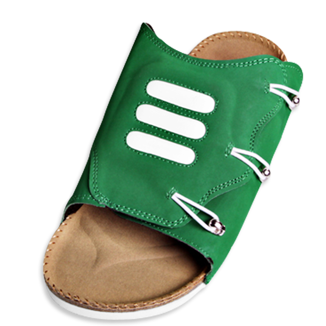 Men Natural Cork Footbed Slip-on Leisure Sandals Green US Size 11