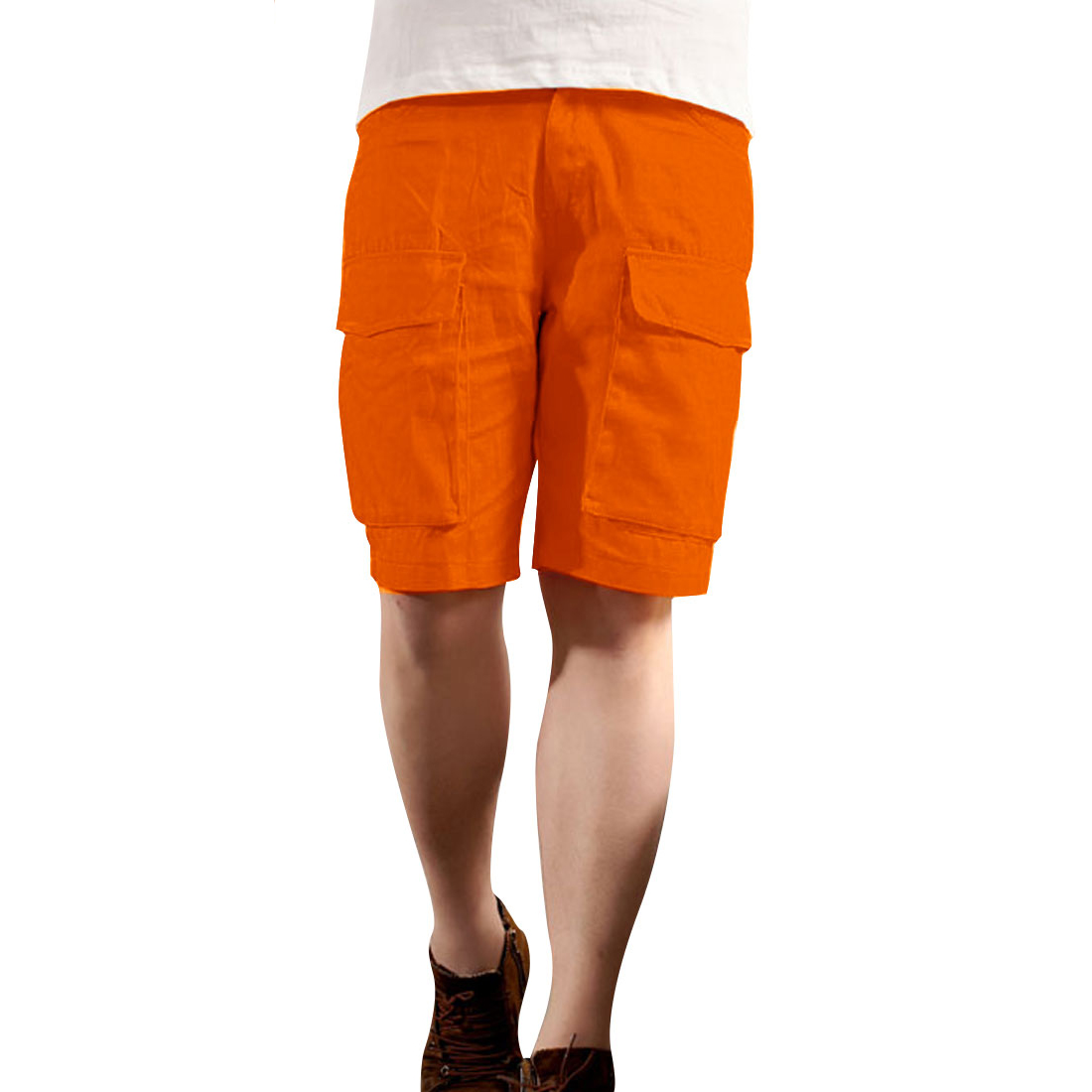 Men Buttoned Flap Hip Pockets Zipper Fly Shorts Pants Orange W30