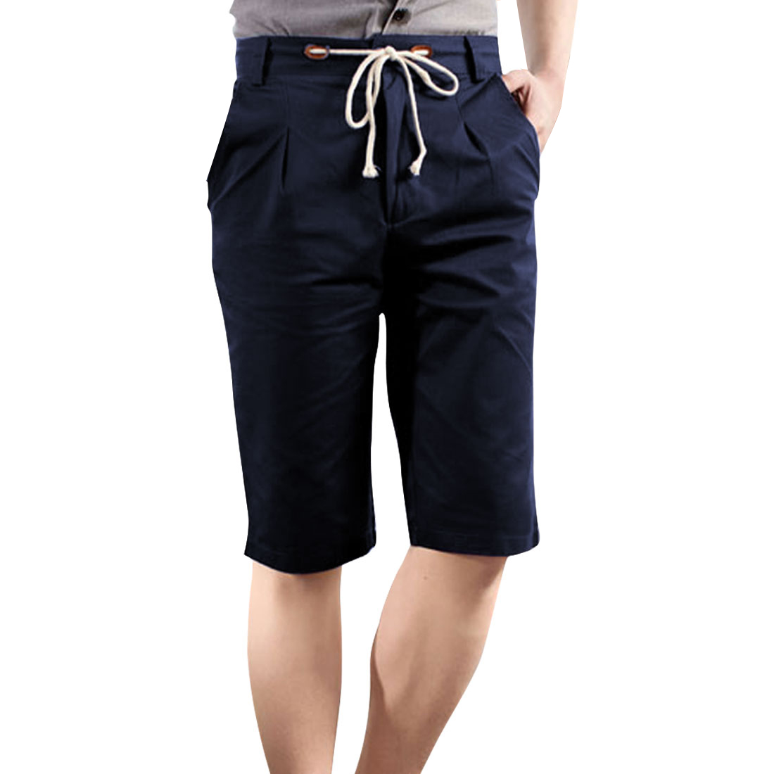 Men Slant Side Pockets Zip Fly Front Straped Waist Navy Blue Shorts W29