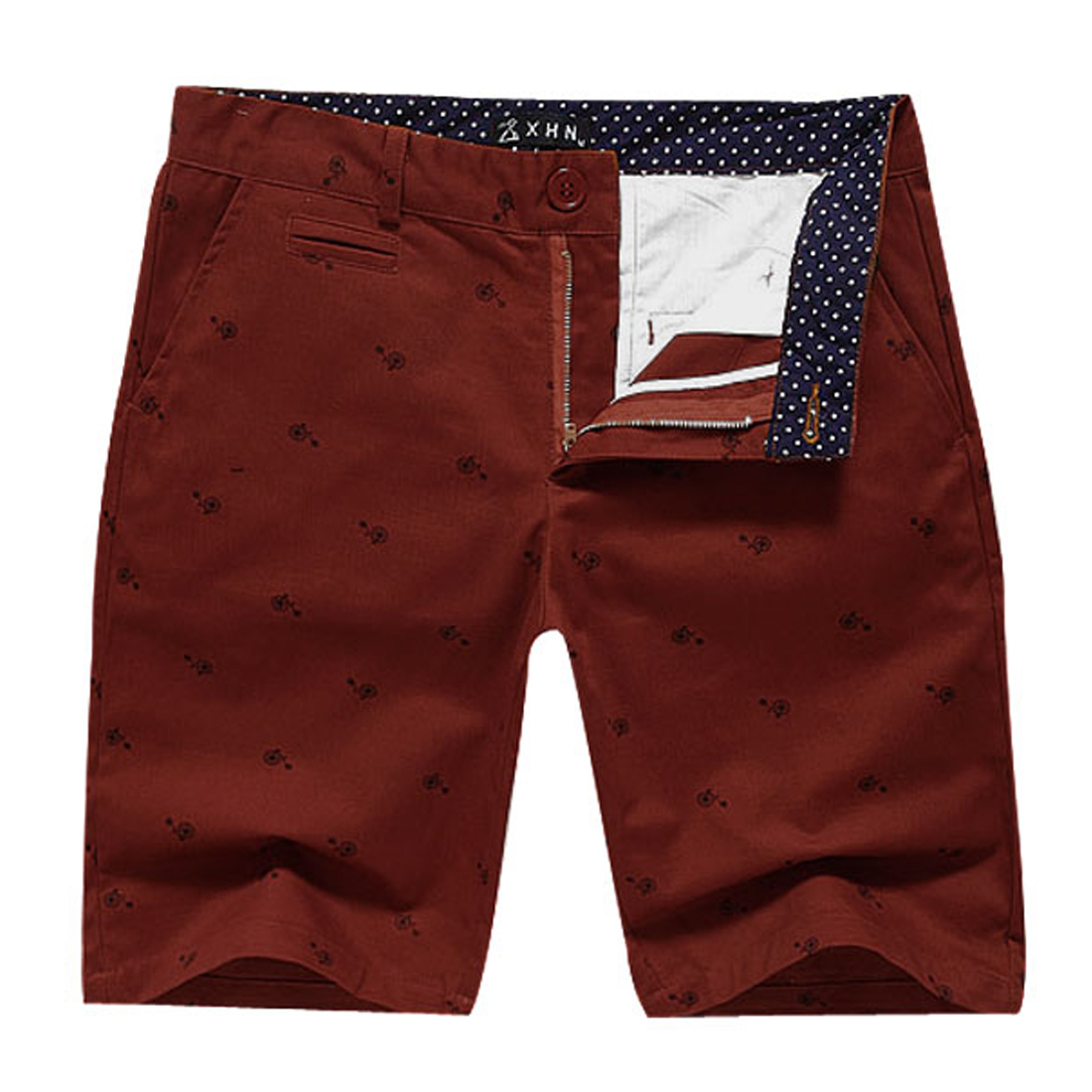 Man Dots Pattern Details Hip Pockets Fashion Short Pants Rust W33