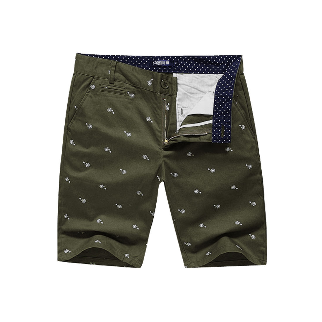 Man Stylish Slant Pockets Bicycle Dots Details Shorts Army Green W33