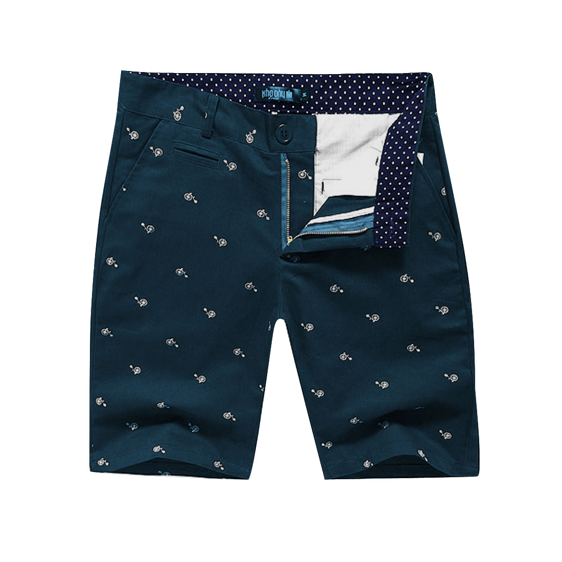 Men Buttoned Slant Pockets Zipper Fly Modern Short Pants Dark Teal W33