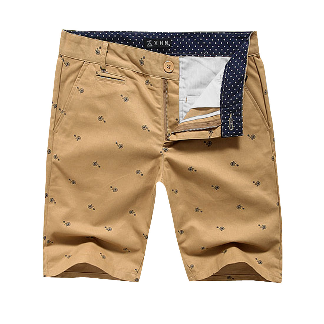 Man Stylish Slant Pockets Small Bike Dots Details Shorts Khaki W33