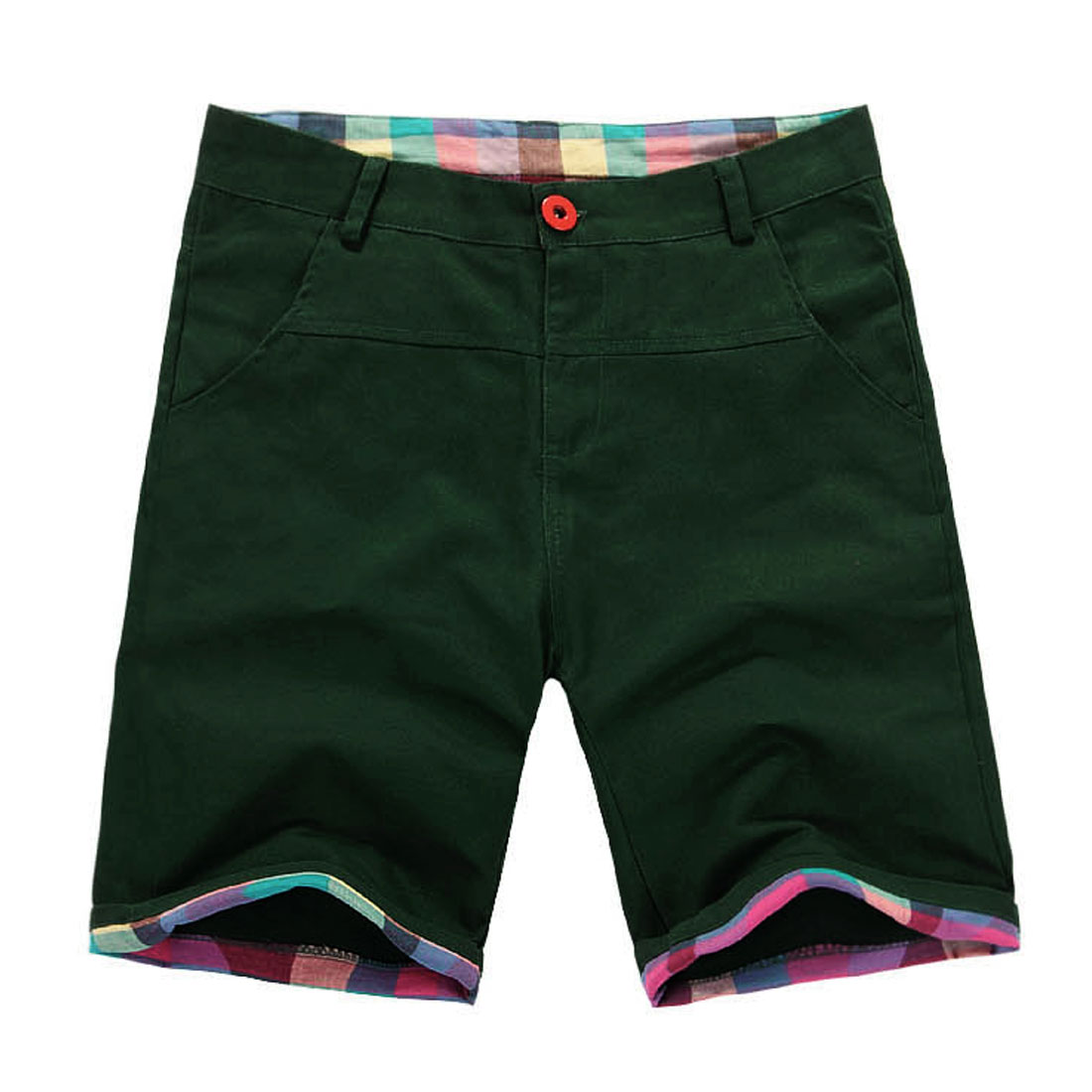 Men Buttoned Slant Side Pockets Plaids Prints Splice Casual Shorts Dark Green W32