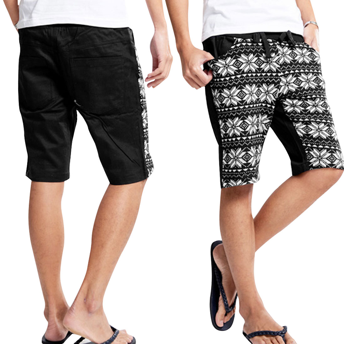 Men Stretchy Strap Waist Floral Prints Knit Splice Design Black White Shorts W29