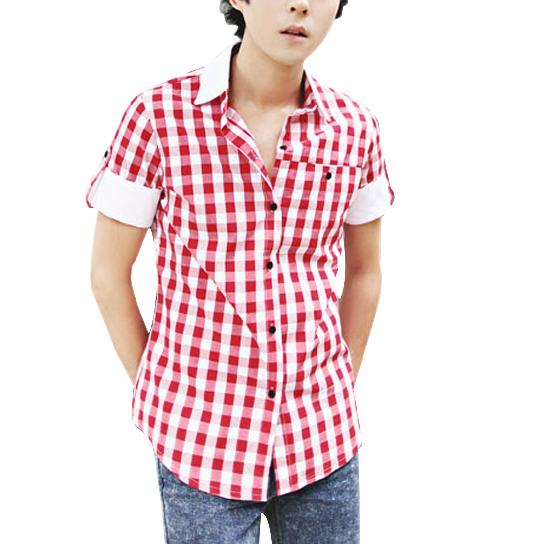 Men Red Point Collar Roll Up Sleeve Single Breasted Plaids Shirt M