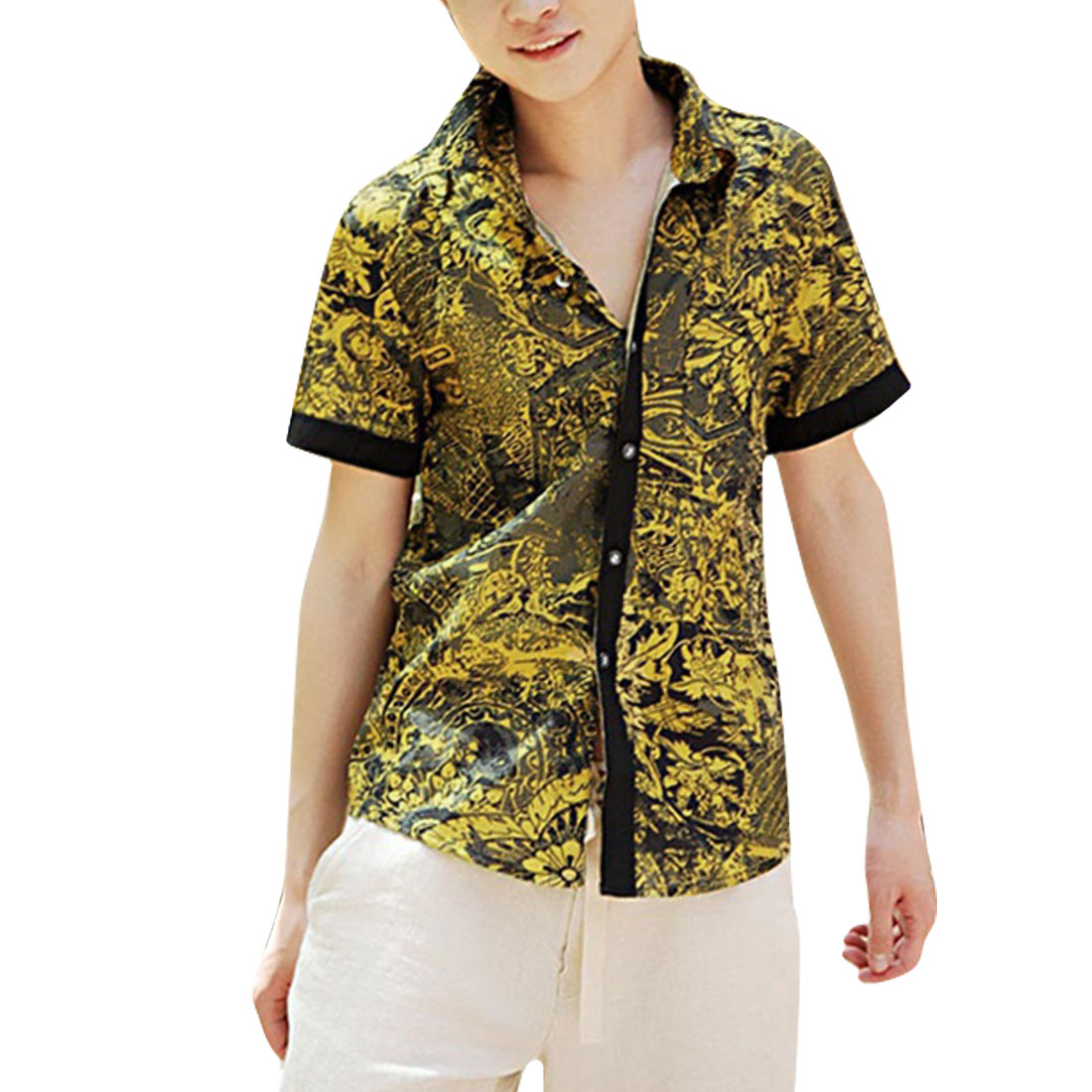 Men Button Closure Short Sleeve Novelty Prints Shirt Yellow Gray S
