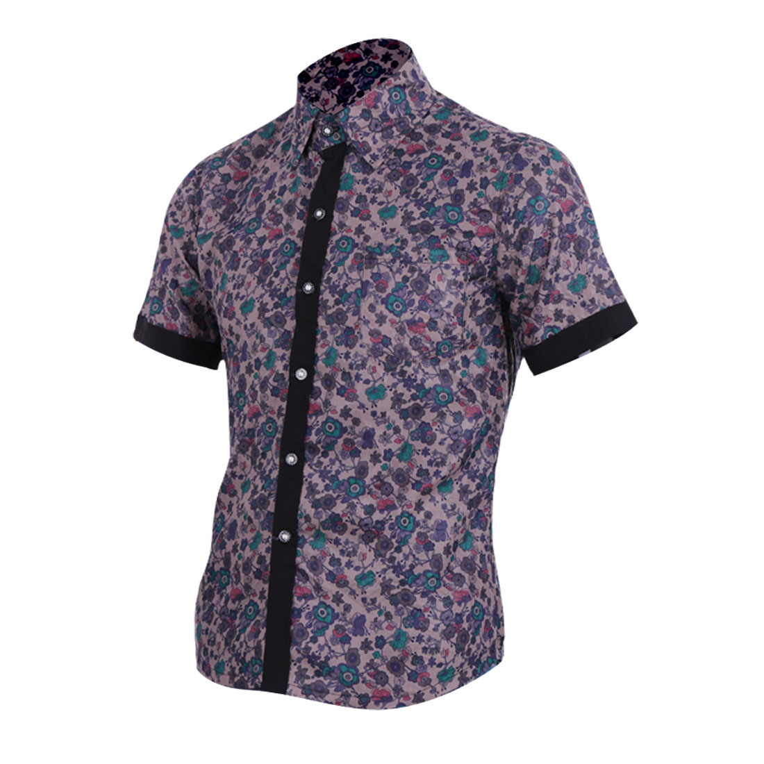 Men Point Collar Short Sleeve Floral Prints Shirt Purple Gray S