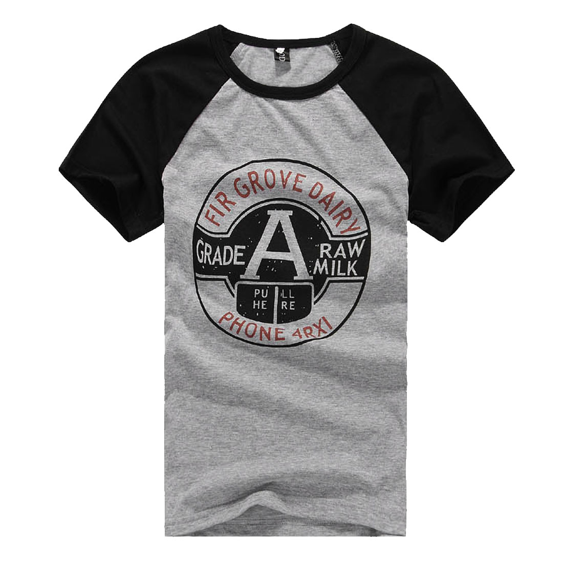 Men Casual Fitted Raglan Sleeve Letters Prints Shirt Black Heather Gray S
