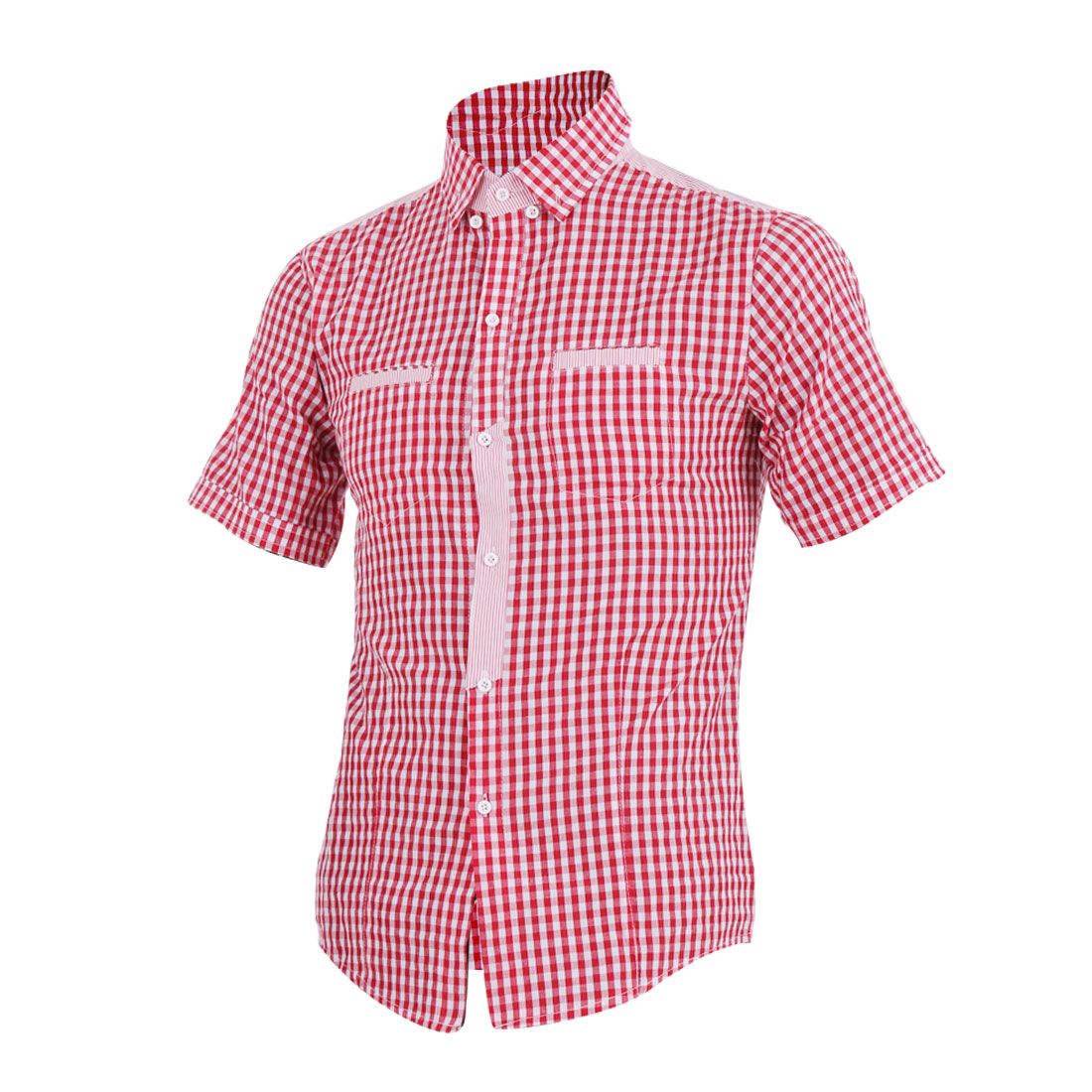 Men Red Plaids Point Collar Round Hem Chest Pocket Shirt M
