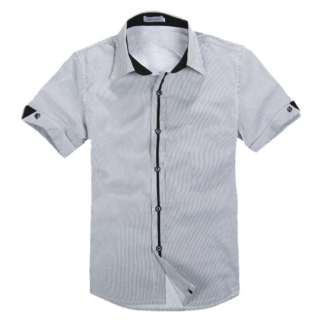 Men Black White Vertical Bar Stripes Point Collar Shirt S