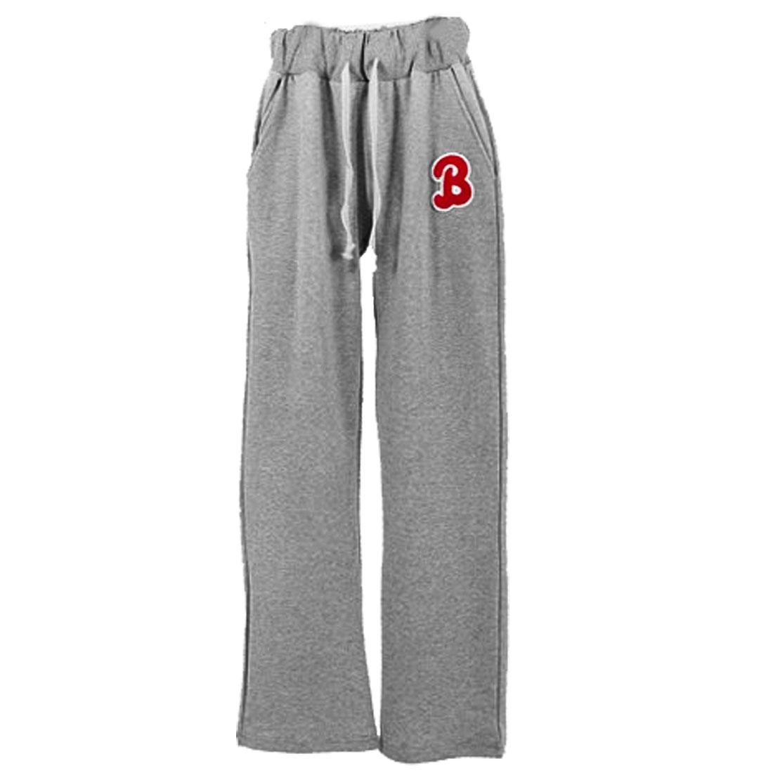 Men Elastic Waist Letters Color Contrast Pockets Pants Light Gray W28
