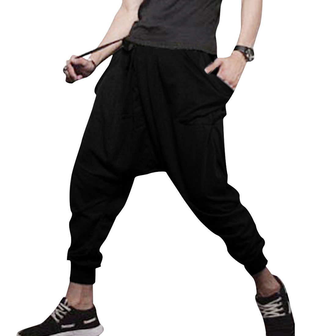 Men Slant Pockets Stretchy Leg Opening Leisure Pants Black W29